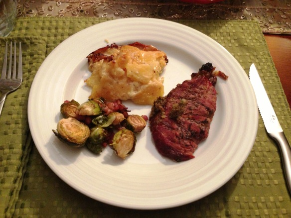 Perfect Dinner for Two -- Horseradish Crusted Roast, Gratin Potatoes, Balsamic Brussels Sprouts