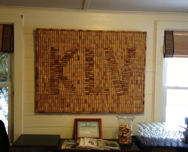 Keuka Lakes Vineyard's backsplash, created by hand. The artist is now working on a full map of Keuka Lake needing over 100,000 corks!