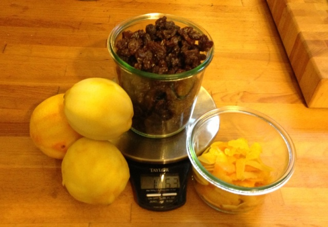 The main ingredients--citrus, raisins and sugar (and dandelions of course)