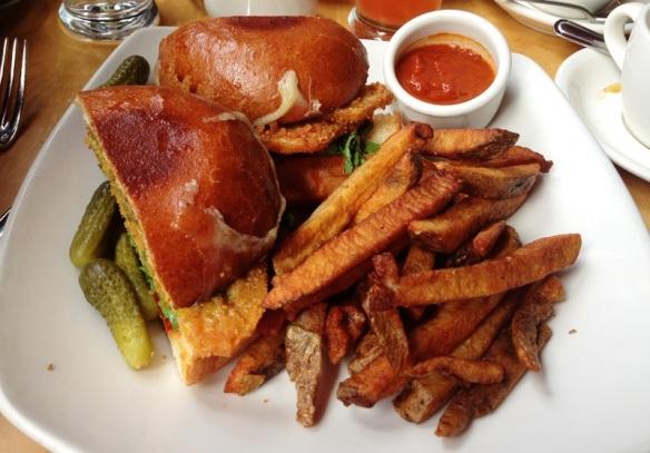Fried Butternut Squash Sandwich - brioche bun, gruyere, red pepper, watercress, salsa verde