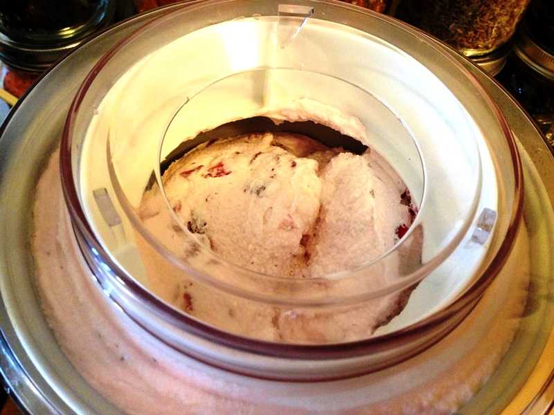 Strawberry Rosemary Ice Cream Churning