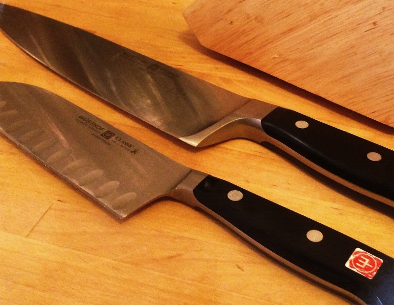"A good knife set. I use my full block but my 8"" chef's knife and flat edge Santuku are essential."