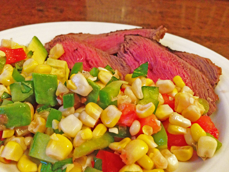 Steak with Corn Salad