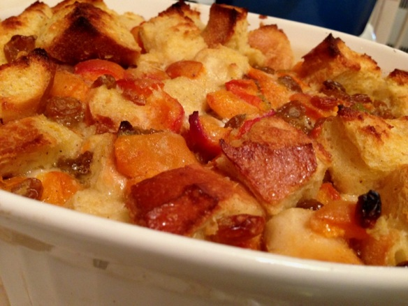Fully baked bread pudding