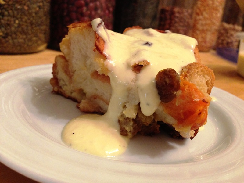 Spiced Apricot Bread Pudding with Almond Cream