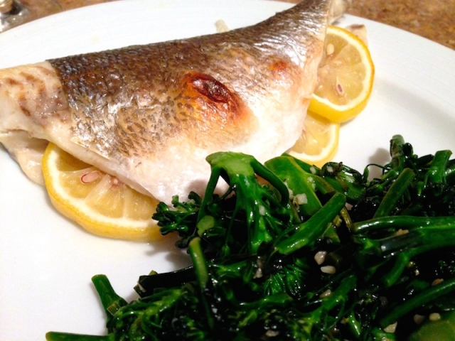 Roasted Bronzino with Lemon