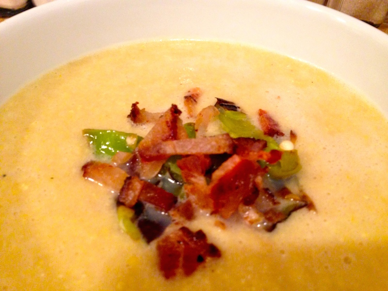 Corn Soup with Shishito Peppers