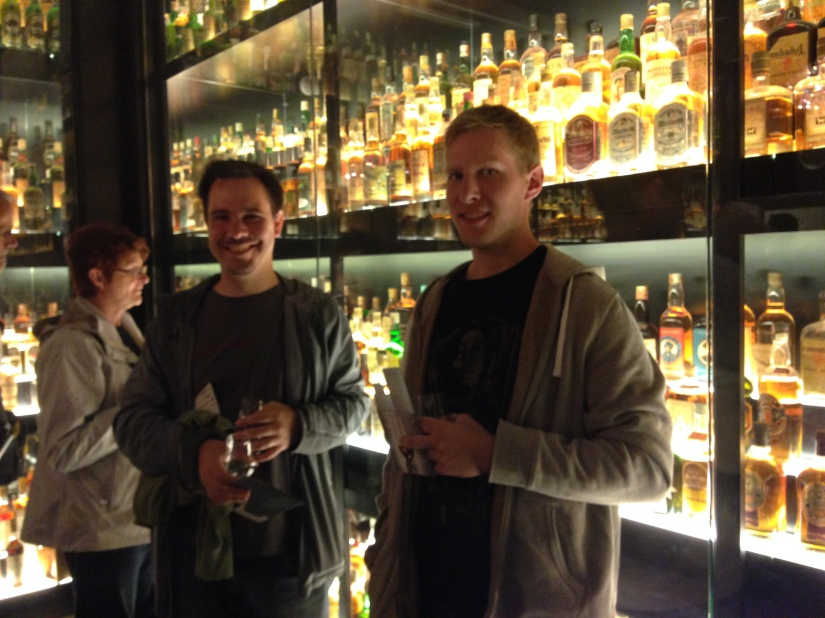 My husband and brother inside the world's largest whiskey collection ~ The Scotch Whiskey Experience