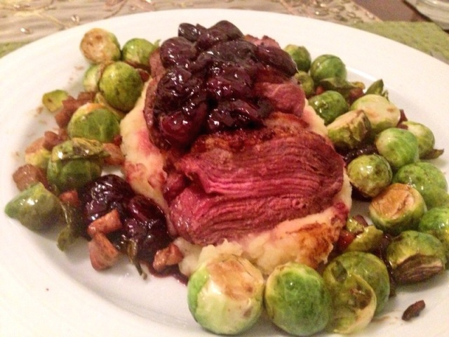 Seared duck breast with balsamic cherries for Valentine's Day