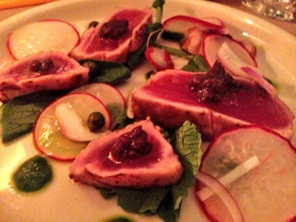 Bill Telepan's Tonnato Tonnatoo tuna, cured blood line aioli, radish green pesto