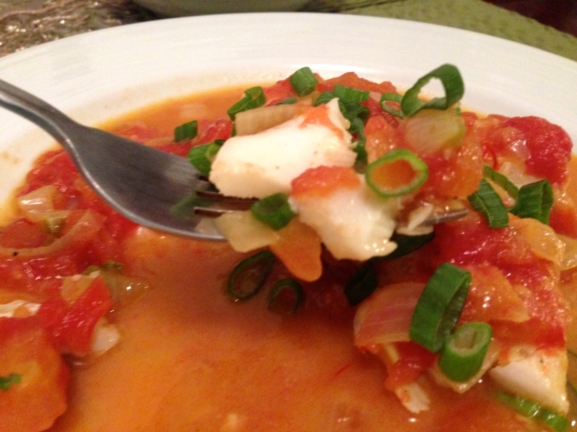 Saffron poached fish in coconut-tomato sauce