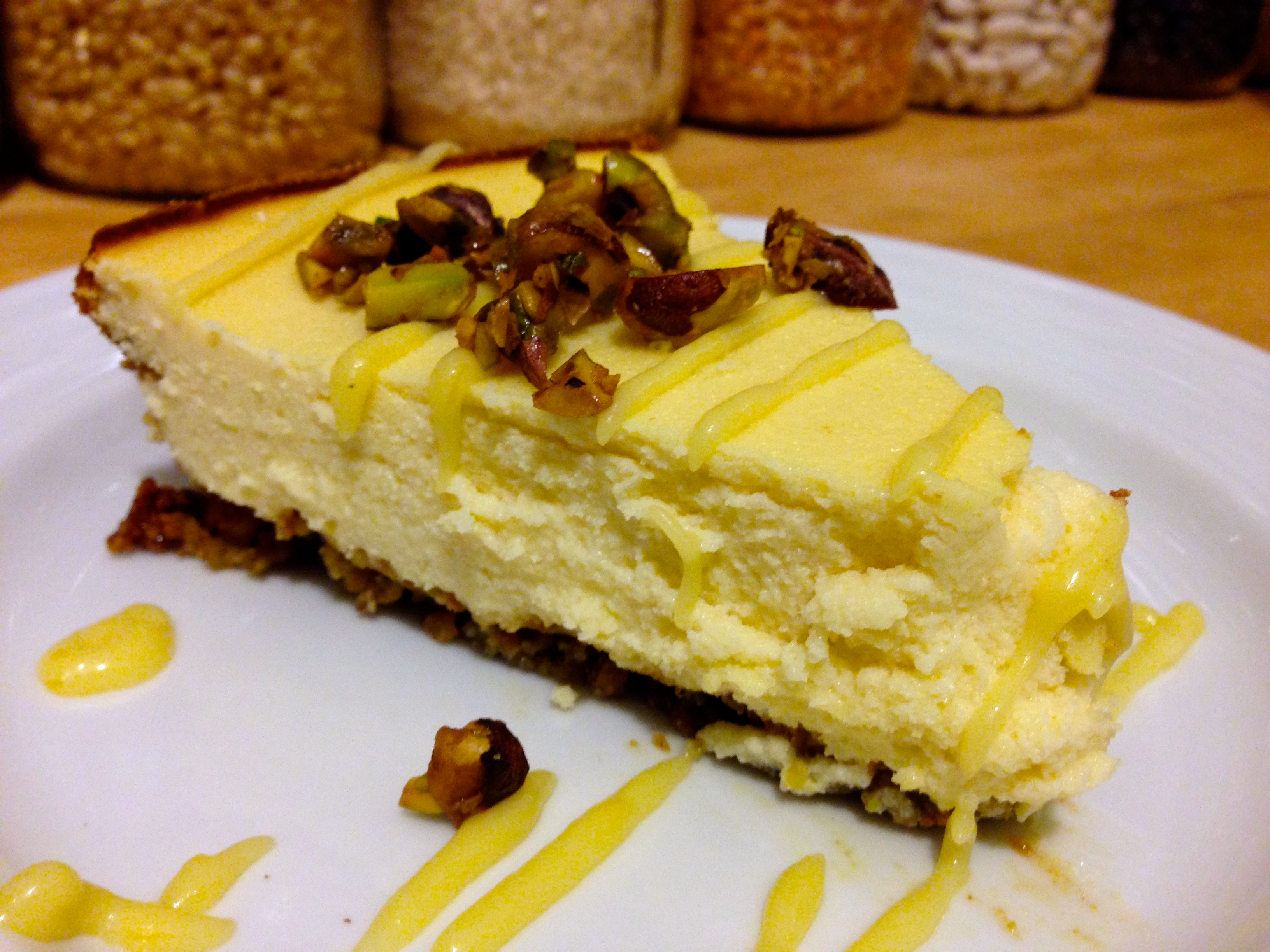 Goat Cheese Pistachio Cheesecake with Lemon Meyer Cream